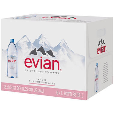 Evian Water - 1 Liter Bottles - 12 pk.