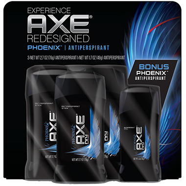 AXE Dry Invisible Solid, Phoenix or Apollo (2.7 oz. - 3 pk. + 1.7 oz. - 1)