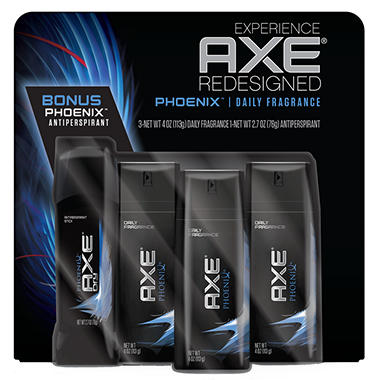 AXE Daily Fragrance Bonus Pack, Phoenix or Apollo  (4 oz. - 3 pk. and 2.7 oz. Deodorant)