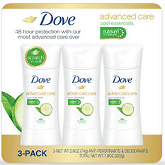 Dove Advanced Care Deodorants, Cool Essentials (2.6 oz., 3 pk.)