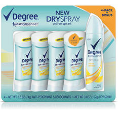 Degree Motionsense Deodorant with Bonus Dry Spray, Fresh Energy (2.6 oz., 4 pk.)