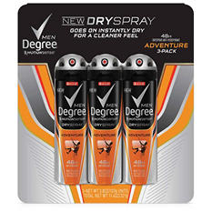 Degree Motionsense DrySpray for Men, Adventure (3.8 oz., 3 pk.)
