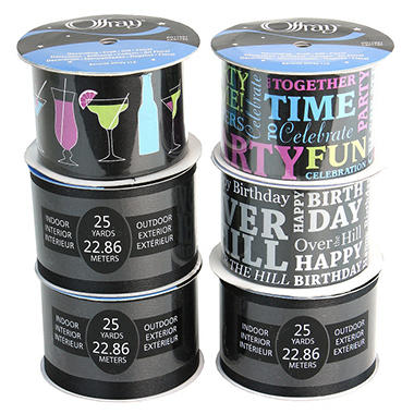 "2.5"" Birthday Banner Ribbon Assortment - 6 pc."
