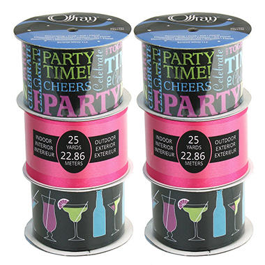 "2.5"" Party Banner Ribbon Assortment - 6 pc."
