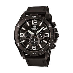 Casio Men's Edifice Chronograph Watch with Leather Band