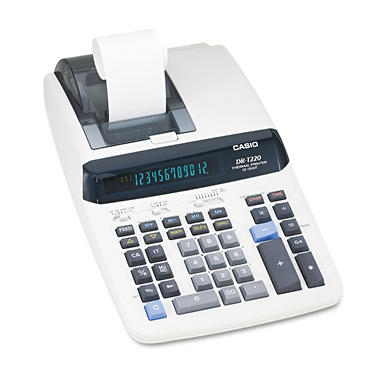 Casio DR-T220 One-Color Thermal Printing Calculator, 12-Digit Digitron, Black