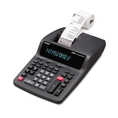 Casio FR-2650TM Two-Color Printing Desktop Calculator, 12-Digit Digitron, Black/Red