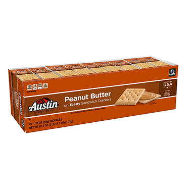 Austin® Toasty Crackers with Peanut Butter - 45 ct.