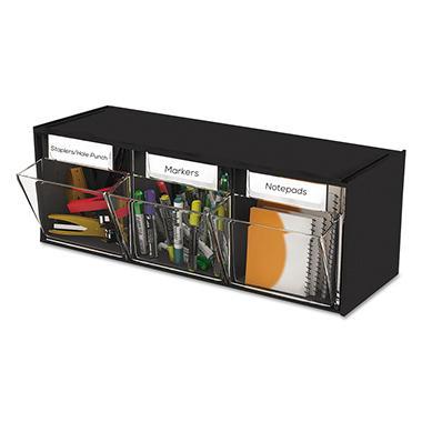 Deflect-O Tilt Bin™ Interlocking Storage System - 3 Bins - Black
