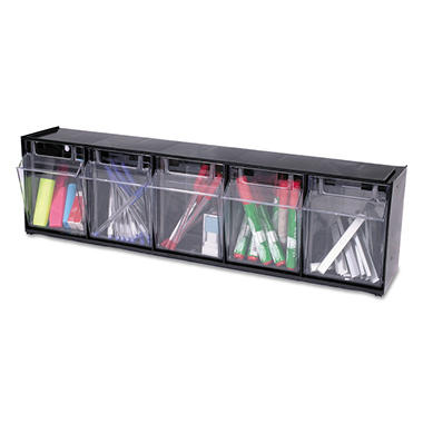Deflect-O Tilt Bin™ Interlocking Storage System - 5 Bins - Black