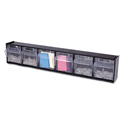Deflect-O Tilt Bin™ Interlocking Storage System - 6 Bins - Black