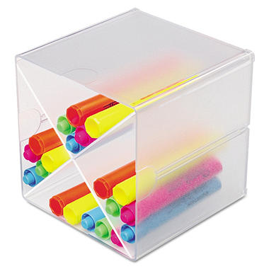 deflect-o - Desk Cube with X Dividers, Clear Plastic - 6 x 6 x 6
