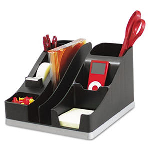 "Deflect-o - All-In-One Caddy, 8"" x 9 1/4"" x 5 1/4"" - Black/Silver"