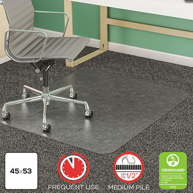 Deflect-O - SuperMat Studded Beveled Mat for Medium Pile Carpet, 45w x 53h, Clear
