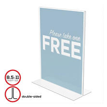 Deflect-O Stand-Up Double-Sided Sign Holder, Plastic, 8 1/2 x 11, Clear