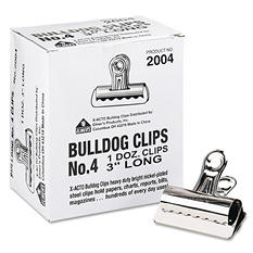 "X-ACTO - Bulldog Clips, Steel, 1"" Capacity, 3""w, Nickel-Plated -  12 per Box"