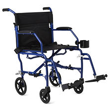 Medline Deluxe Ultra-Lightweight Transport Chair – Blue
