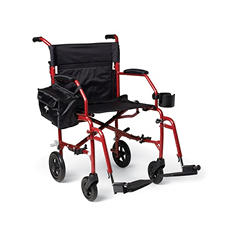 Medline Ultra-Light Transport Chair and Folding Cane, Red