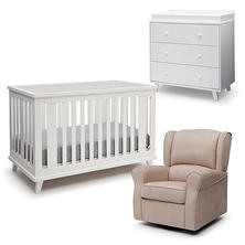 Delta Children Ava 4-Piece Nursery Set, White