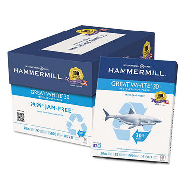 Hammermill - Great White 30% Recycled Copy Paper, 20lb, 92 Bright, 8-1/2 x 11