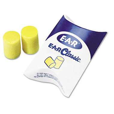 Classic Ear Plugs, Pillow Paks, Uncorded, PVC Foam, Yellow, 200 Pairs per Box
