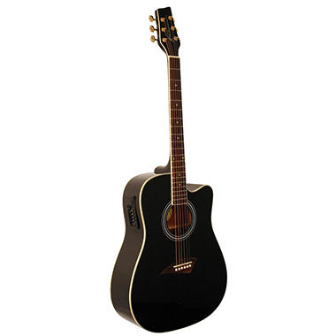 kona dreadnought acoustic electric spruce top guitar with high gloss black finish sam 39 s club. Black Bedroom Furniture Sets. Home Design Ideas
