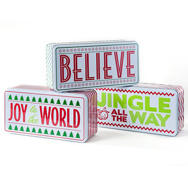 Whimsical Word Tins filled with European Chocolate Wafer Duo Bars
