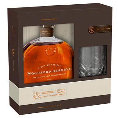 WOODFORD RESERVE 750ML W/ GLASSES