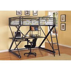 Z-Bedroom Full Loft Study Bunk Bed - Black