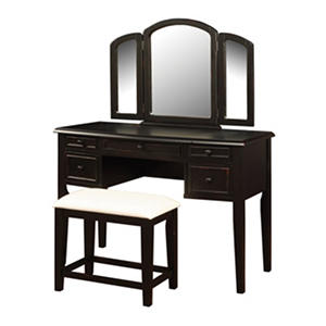 Antique Black Vanity with Mirror and Bench