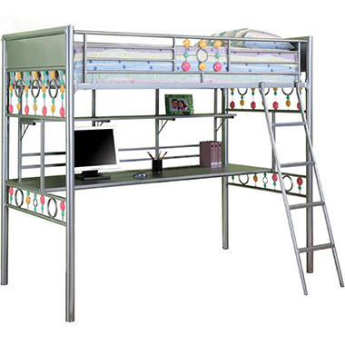 Bauble Girls Twin Size Study Loft Bunk Bed