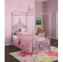 081438420417 - Powell Princess Rebecca Sparkle Silver Canopy Bed, Twin carousel main 0