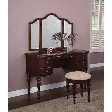 Sale marquis cherry vanity mirror bench 508 290 for Affordable furniture 290