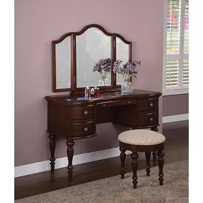 Marquis Cherry Vanity, Mirror & Bench