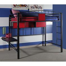 Garage Twin Size Loft Bed with Shelf