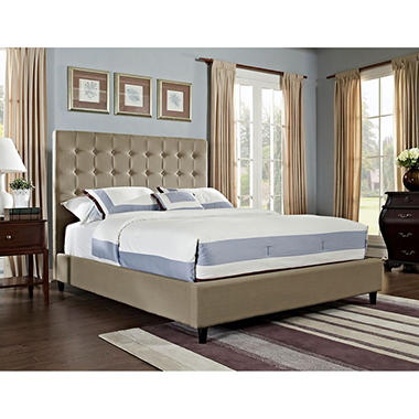 Soft Roll Upholstered Bed Tan   165-054M1