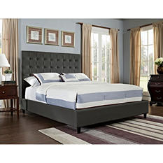 Soft Roll Upholstered Queen/Full Bed - Charcoal