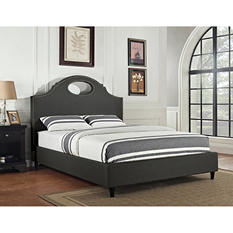 Key Hole Upholstered Queen/Full Bed - Charcoal