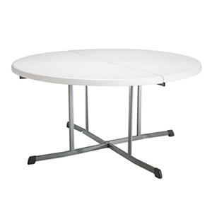 "Lifetime 60"" Round Fold-in-Half Commercial Grade Table, White Granite"