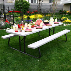 Lifetime Commercial 8' Picnic Table - Putty