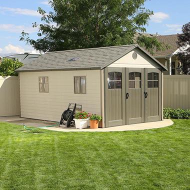 Lifetime storage building with tri fold doors 11 39 x 18 5 for 10 x 11 garage door