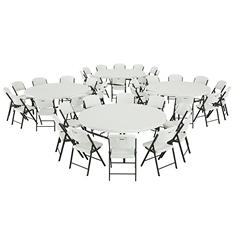 "Lifetime Combo (4) 72"" Round Tables and (40) 18.5"" Commercial Folding Chairs, White Granite"