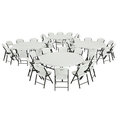 "Lifetime Combo (4) 72"" Round Tables and (40) Commercial Folding Chairs - White Granite"