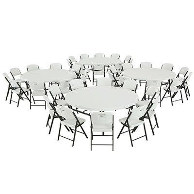 "Lifetime Combo (4) 6' Round Table and (40) 18.5"" Commercial Folding Chair - White Granite"