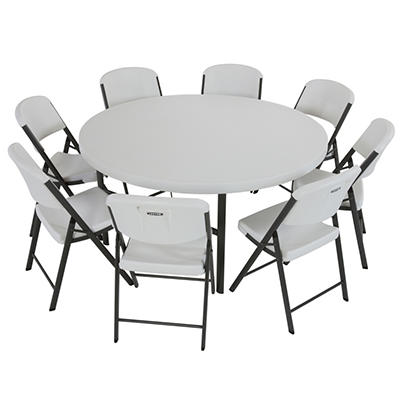 "Lifetime Combo (4) 5' Round Table and (32) 18.5"" Commercial Folding Chair - White Granite"