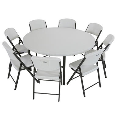 "Lifetime Combo (4) 60"" Round Tables and (32) Commercial Folding Chairs - White Granite"