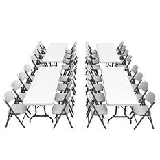 "Lifetime Combo (4) 8' Banquet Tables and (32) 18.5"" Commercial Folding Chairs, White Granite"