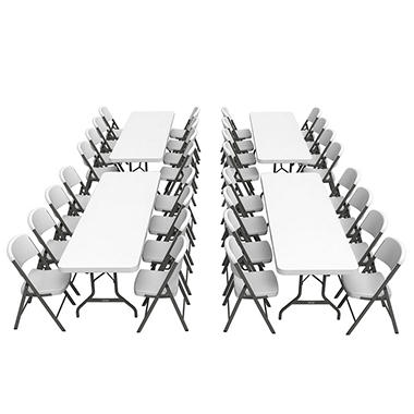 Lifetime Combo (4) 8' Banquet Tables and (32) Commercial Folding Chairs - White Granite