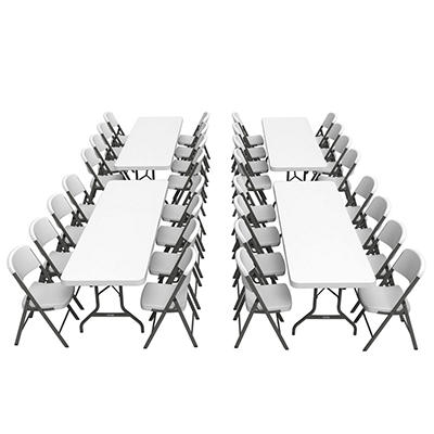 "Lifetime Combo (4) 96"" Banquet Tables and (32) 18.5"" Commercial Folding Chairs, White Granite"