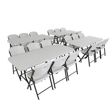 Lifetime Combo-4 Banquet 6' Commercial Tables and 24 Folding Chairs, White Granite